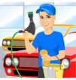 Smiling teen boy washing a car vector image vector image