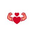 strong heart logo vector image vector image