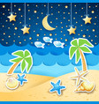 summer landscape with palms and shells by night vector image