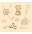 Tools and materials for knitting sketch vector image vector image