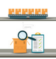 warehouse boxes and cheklist logistic shipping vector image vector image