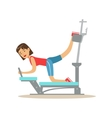Woman Doing LEg Muscle Exercises With Equipment vector image vector image