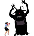 woman fighting a monster vector image vector image