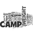 youth activities weight loss camp text word cloud vector image vector image