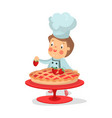 cute cartoon little boy chef character baking vector image