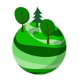 Green abstract planet with trees vector image