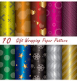 10 Gift Wrapping Paper Pattern Design Template vector image
