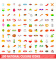 100 national cuisine icons set cartoon style vector image vector image