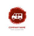 ambulance icon - red watercolor circle splash vector image vector image