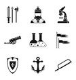armament icons set simple style vector image vector image