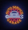 auto service repair logo in neon style neon sign