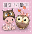 baby in a owl hat and cute owl vector image vector image