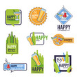bar happy hour isolated icons beer and cocktails vector image vector image