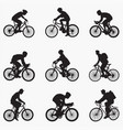 bicyclist man silhouettes vector image vector image