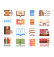 book shop and bookstore logotype set isolated on vector image
