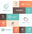Business technology and social media emblems and vector image