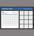 calendar 2020 minimal design template desk vector image