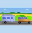 camp car trailer concept banner cartoon style vector image