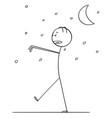 cartoon of somnambulant man sleepwalking in night vector image