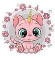 cartoon pink kitten unicorn with flowers vector image vector image