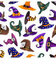 cartoon wizard and witch hats seamless pattern vector image vector image