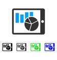 charts on pda flat icon vector image vector image