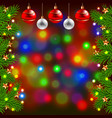 Christmas tree branches and balls on colorful vector image