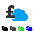 cloud pound banking flat icon vector image vector image