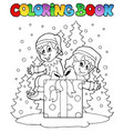 coloring book christmas elf theme 2 vector image vector image