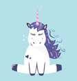cute dreaming unicorn vector image vector image