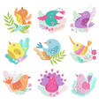cute little birds set symbols of spring colorful vector image