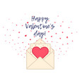 cute valentines day card with hearts and envelope vector image