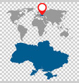 detailed map of ukraine and world map navigation vector image vector image