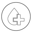 drop and cross icon black color in circle round vector image