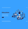 education isometric landing page teacher students vector image vector image