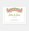 elegant flowers frame wedding invitation card vector image vector image