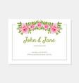 elegant flowers frame wedding invitation card vector image vector image