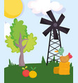 farm animals duck in hay fruits windmill tree vector image