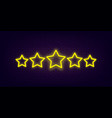 five star rating neon vector image vector image