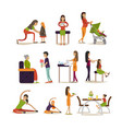 flat icons set of pregnant women mothers vector image vector image