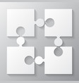 Four white piece jigsaw puzzle four section