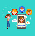 group friends chatting online video call vector image