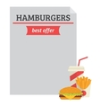 Hamburger best offer template vector image vector image