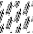 hand drawn pattern with realistic rocket vector image