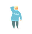 handsome overweight man dressed in blue sweater vector image vector image