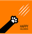 happy halloween card bloody claws animal scratch vector image