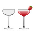 isolated empty and full coupe glasses vector image vector image
