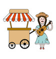 isolated food cart design vector image vector image