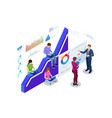 isometric web banner data analisis and statistics vector image vector image