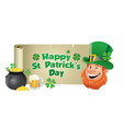 leprechaun with saint patricks day banner vector image